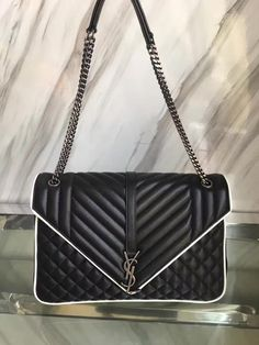 ae974b17e8ec1 YSL CLASSIC LARGE SOFT ENVELOPE MONOGRAM SAINT LAURENT BLACK AND DOVE WHITE  MIXED MATELASSé LEATHER shoulder bag 7685038 size 31CM 0830WY10240 watsapp +  ...