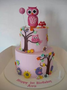 Cakes by Laura Gorgeous Cakes, Pretty Cakes, Cute Cakes, Amazing Cakes, Adult Birthday Cakes, Birthday Ideas, Cupcake Frosting, Cupcake Cakes, Happy Owl