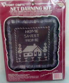 Home Sweet Home Pillow  Net Darning Kit Lace & Fabric for Ruffle & Backing  NIP
