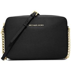 MICHAEL MICHAEL KORS Women's Jet Set Travel Saffiano Crossbody Bag (€125) ❤ liked on Polyvore featuring bags, handbags, shoulder bags, purses, accessories, black, purses crossbody, travel shoulder bags, leather crossbody handbags and leather purses