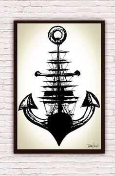 Sailing Ship w/ Anchor // Trippy Nautical Ship and Anchor Art Drawing // Poster Print   by SargentIllustration, $30.00