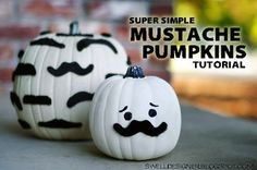 Mustache Pumpkins.  Pumpkin decor ideas