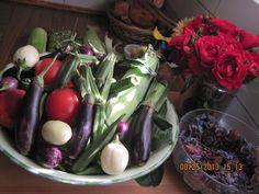 8-19th Karen´s roses, delicious veggies for for filling for homemade ravioli etc