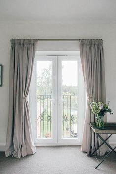 Guide To Hanging Curtains {With Laura Ashley} Full length grey curtains on french doors with balcony overlooking a garden.Full length grey curtains on french doors with balcony overlooking a garden. Patio Door Curtains, Balcony Doors, Bedroom Balcony, Curtains Living, Hanging Curtains, Grey Curtains Bedroom, Lounge Curtains, Cheap Curtains, Blinds For Patio Doors
