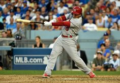 Jon Jay hits a RBI single to score teammate Jhonny Peralta (not pictured) in the seventh inning against the Los Angeles Dodgers during Game 1 of the NLDS. Cards won the game 10-9.  10-03-14