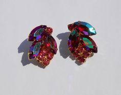 VINTAGE red pink AB ROUND NAVETTE large RHINESTONES Juliana D CLIP earrings