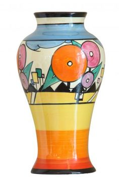 "An Extremely Rare Meiping Vase Produced in Bizarre By Clarice Cliff. This is the only know example of this pattern on a vase. 9"" high British C1930"