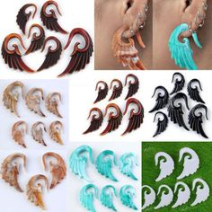 Pair Gauges Acrylic Spiral Taper Ear Plugs Expander Stretcher Earlets Piercing #Unbranded
