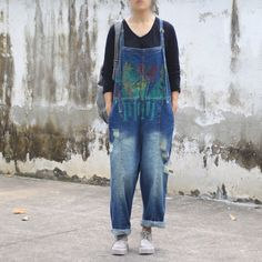 Washed and soft washed denim jumpsuit for simple and casual look. Cotton Jumpsuit, Casual Jumpsuit, Denim Jumpsuit, Overalls, Casual Looks, Jumpsuits, Latest Trends, Dressing, Jeans