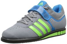 adidas Performance Men's Powerlift.2 Trainer Shoe, Grey/Neon Green/Solar Blue, 7.5 M US. Wider fitting last offers increased, beneficial comfort. Specifically-Configured lowered heel height for cross-training regimen involving weightlifting. Weightlifting-Engineered, high density die-cut midsole wedge offers lightweight stability. Single instep strap provides additional rear foot integrity. Synthetic leather provides light weight, support, and durability.