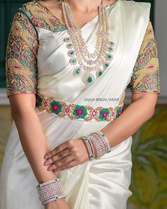 We love the Belted Bridal Blouse trends – Fascinate Blouses Half Saree Designs, Silk Saree Blouse Designs, Fancy Blouse Designs, Bridal Blouse Designs, Blouse Neck Designs, Silk Sarees, Stylish Blouse Design, Stylish Dress Designs, Saree With Belt