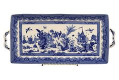 "6x13 Bird Scene Tray on OKL ($35 v. $65 retail) Made of:     porcelain Size:     1"" x 13.5"" x 6"" Color:     blue/ivory ""This elegant porcelain tray displays distinctive Asian flair and the look of an heirloom piece."""