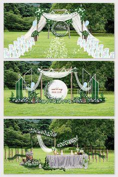 Modern beautiful lawn wedding effect map Outside Wedding, Wedding Reception, Wedding Aisles, Wedding Ceremonies, Boho Wedding, Rustic Wedding Backdrops, Wedding Stage Decorations, Backdrop Wedding, Wedding Stage Design
