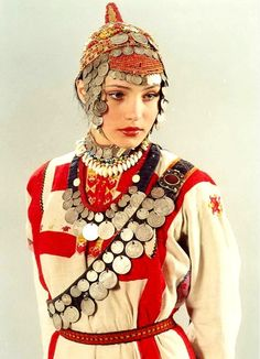 Chuvash Turk girl from Volga river region wears traditional 19th century costume