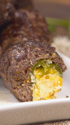 Recipe with video instructions: What's not to love about cheese-filled jalapeños wrapped in meaty deliciousness? Meatball Recipes, Beef Recipes, Cooking Recipes, Beef Meals, Meatloaf Recipes, Meat Appetizers, Appetizer Recipes, Cheese Stuffed Meatballs, Hamburger Dishes