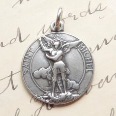 Sterling Silver St Michael the Archangel Medal  Antique