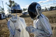 Wee Waa, Austrailia: Fans wearing Daft Punk helmets arrive at the venue prior to the groups album launch - I would of loved to have been there, I have big love for Daft Punk