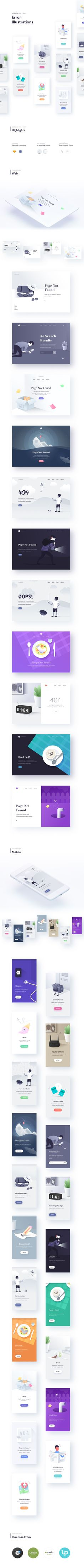 Beautiful, modern & detailed-illustrations created using Sketch app and Adobe Ph… - UI Design Board Mobile Ui Design, App Ui Design, User Interface Design, Layout Design, Module Design, Empty State, 404 Pages, Mobile App Ui, Ui Design Inspiration