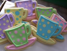 Tea Cups sugar cookies iced with royal icing for a little girl's tea party