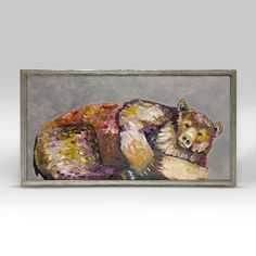"Grizzly Bear Dreams on Grey Mini Print 10"" x 5"" - Silver Frame"
