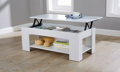 Suitable for home or office, this coffee table features a mechanical lifting top and an additional bottom shelf 49gbp