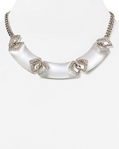 Alexis Bittar Encrusted Lucite Chevron Link Bib Necklace, 16""