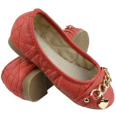 Kids Ballet Flats Quilted Gold Heart Accent Casual Slip On Shoes Red Ballet Kids, Casual Slip On Shoes, Girls Flats, Heart Of Gold, Ballet Flats, Lady, Ladies Shoes, Ballet Shoes, Ballerina Pumps