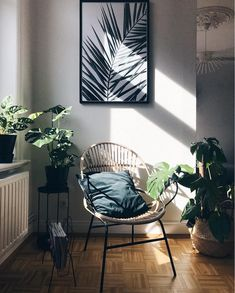 my scandinavian home: rattan chair and palm print in glorious sunshine.
