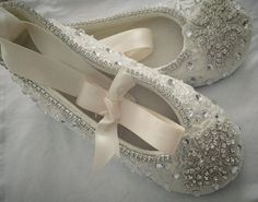 """Ivory or White - Wedding Ballet - Slippers -Shoes - Satin Flats -  Ballerina """"Celtic"""" Pearl Design Pearls & Crystals  - Custom Made to Order"""