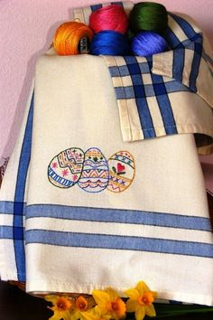 vintage grey: new spring embroidered tea towels are in the shoppe! http:/