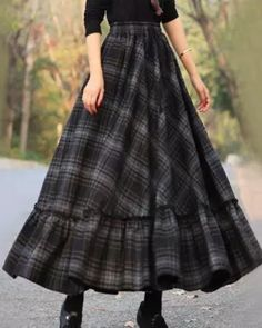 Vintage A Line Skirt Plaid Dress Long Plaid Skirt, Plaid Skirts, Casual Skirts, Plaid Dress, Dress Skirt, Dress Casual, Casual Dresses For Women, Pleated Skirt, Midi Skirt