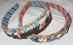 Vintage headband Mexican folk art little people 1980s hair