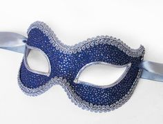 Blue And Silver Glitter Masquerade Mask Venetian by SOFFITTA