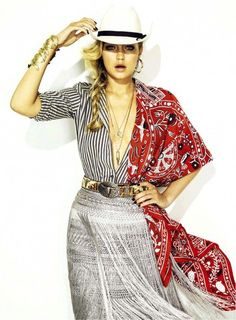 Gigi Hadid incorporates both a bandana and fringe in a uniquely chic way. // #Celebrity #Editorial