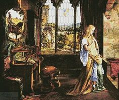 """""""the lady of shalott looking at lancelot"""" by john William Waterhouse. This shows the Lady looking out her window to catch a glimpse of Lancelot's armor. John William Waterhouse, Illustration Fantasy, Images Esthétiques, Pre Raphaelite Paintings, The Lady Of Shalott, John Everett Millais, Mists Of Avalon, Medieval, Arya Stark"""