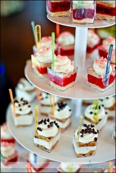 Wedding Food Ideas - Wedding dessert shot tower - The Bridal Dish adores! Catering for your wedding: . Mini Desserts, Mini Dessert Cups, Wedding Desserts, Dessert Recipes, Dessert Ideas, Wedding Cakes, Cheesecake Desserts, Raspberry Cheesecake, Mini Dessert Shots
