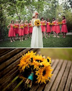 I love the combo of sunflower bouquets and coral bridesmaid dresses, need help finding dresses/ colors that go great with sunflowers!