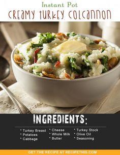 Instant Pot Recipes | Instant Pot Creamy Turkey Colcannon recipe from RecipeThis.com