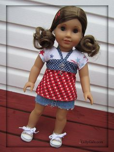 Happy 4th of July  4 piece set  American Girl Doll by GillyGals, $29.99