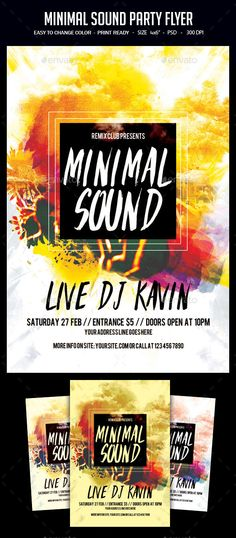 Minimal Sound Party Flyer Template PSD. Download here: http://graphicriver.net/item/minimal-sound-party-flyer/16225236?ref=ksioks