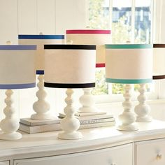 Ribbon Trim Table Shade, diy with white lamp and white drum shade, glue ribbon to shade Girls Bedroom Furniture, Bedroom Ideas, Nursery Ideas, Bedroom Decor, Side Tables Bedroom, Table Lamp Shades, Table Lamps, Pottery Barn Teen, Big Girl Rooms