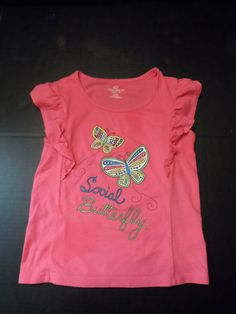 """$5.97/ Pink Youth Girl Shirt Top says """"Social Butterfly"""" by Okie Dokie, size  XL/6X ~this is accented with ruffles at the arm opening & glitter ~~see more youth, kids, children's clothing + over 20 categories of merchandise in my store. SHIPPING IS ALWAYS FREE in the USA; I do ship globally www.shellyssweetfinds.com"""