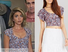 Haley Dunphy (Sarah Hyland) wears this floral printed crop top in this week's episode of Modern Family. It is the BCBGeneration Ruffle Sleeve Crop Top. Buy it HERE