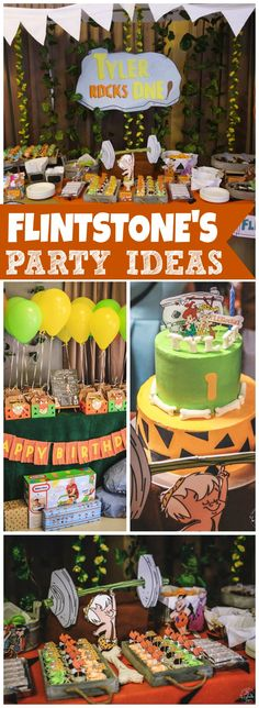 How cool is this Flintstone's birthday party?! See more party ideas at CatchMyParty.com!