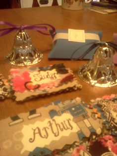 bells, candy boxes and place setting tags Thirty-One fabric!