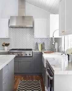 white + grey + herringbone subway tile