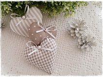 3 Herzen im Landhaus-Stil♥Vintage♥taupe-weiß