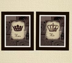 His and hers crown art prints 8x10 set of two by Distressedink
