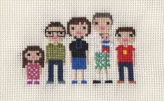 Custom Large Family Pixel Cross Stitch Portrait by ScarletPyjamas