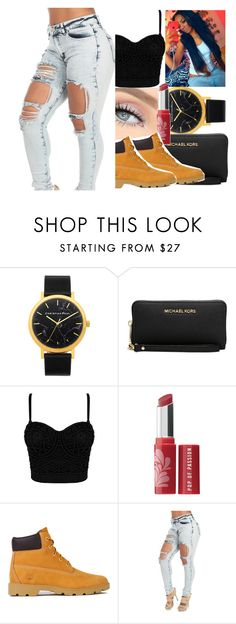"""I Slay All Day"" by jayla-baby ❤ liked on Polyvore featuring Michael Kors, Bare Escentuals and Timberland"